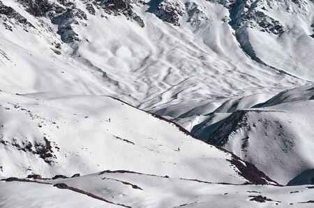 crack climbing: Mountain Wall in a Deep Snow