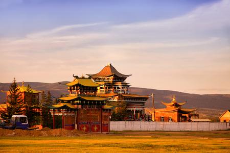 ulan ude: A Buddhist Temple in soft sunset light