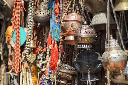 Closeup of religious stuff on a market photo