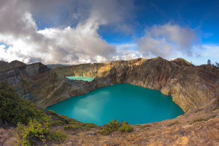 Colorful Lakes in Volcano Kelimutu Craters