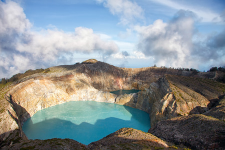 crater lake: Colorful Lakes in Volcano Kelimutu Craters