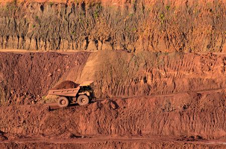 iron ore: Loaded tip-truck in an open mine
