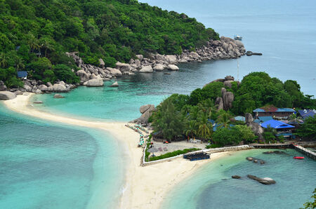 tropical paradise: Tropical paradise - islands, white sand, yachts - aerial view Stock Photo