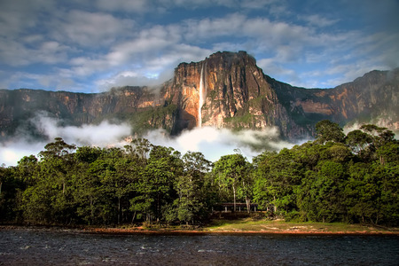 falls: Angel Falls - the highest waterfall on Earth - in morning light