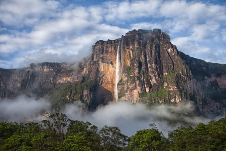 Closeup of the highest waterfall in the world - Angel Falls Stock Photo