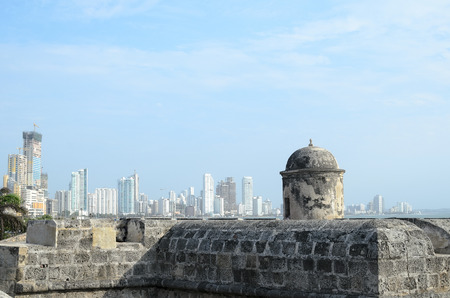 metropolis: View to luxurious Bocagrande district of Cartagena from old fortress wall Editorial