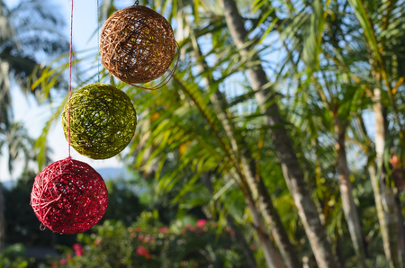 Tree colorful balls made of natural thread hanging in front of palm trees