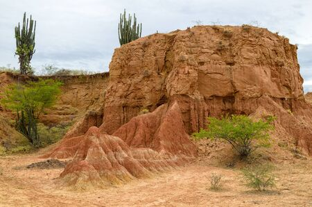 huila: Beautiful view to orange rock and green bushes and cactus
