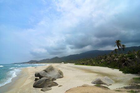 tragic: Aerial view to amazing tropical beach under tragic stormy sky Stock Photo