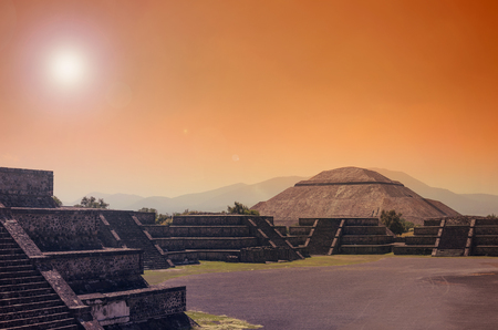 Stunning view to Teotihuacan pyramids in orange sunset light Reklamní fotografie