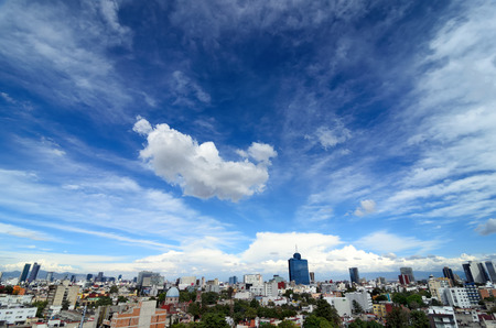 Wide-angle aerial view to cityline of Mexico-city 스톡 콘텐츠