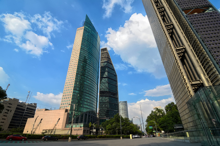 mexico city: MEXICO CITY, MEXICO - OCTOBER 10, 2015: Skyscrapers at Avenida Reforma.