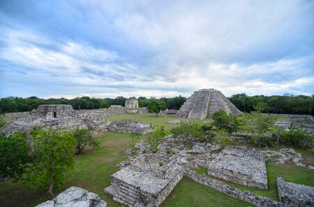 tragic: Aerial view to Mayan pyramids under tragic evening sky