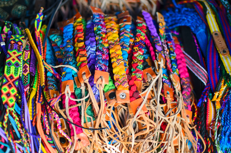 wristbands: Numerous wristbands with Guatemala sing at the craft market