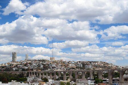 arhitecture: View to aqueduct and cityline of Queretaro city