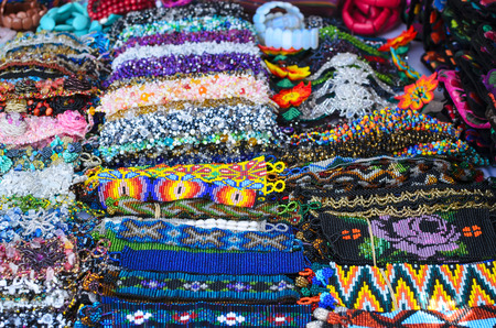 wristbands: Numerous authentic handmade bid wristbands at the market in Mexico