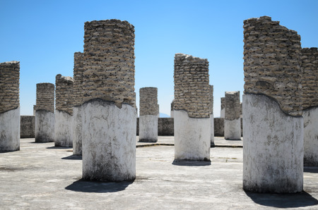 archaeological: Ancient Toltec pillars at the archaeological sight