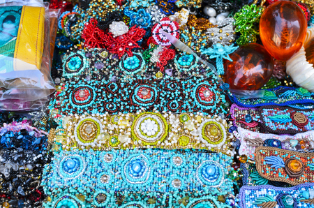 wristbands: Colorful bid wristbands and other souvenirs at the market in Oaxaca Stock Photo