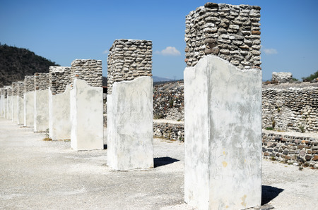 White columns of ancient Toltec city in Tula