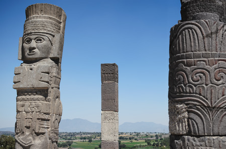 Atlantean figure and ancient columns at the archaeological sight in Tula Stock Photo - 56486988