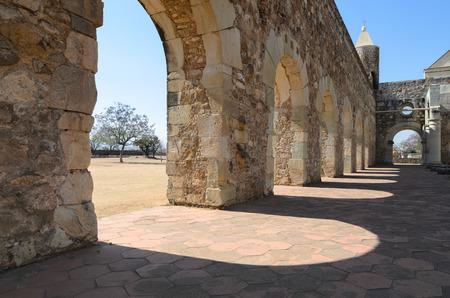 convento: Closeup vew to the yard of Convento de Cuilapam in Oaxaca