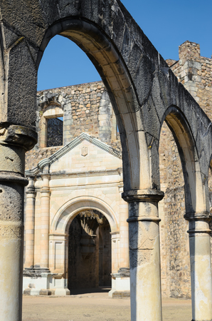 convento: View of the entrance of Convento de Cuilapam visible under the arch Stock Photo