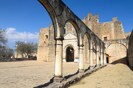convento: Vew to the yard of Convento de Cuilapam in Oaxaca