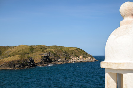 portugese: Atlantic coast in Cabo Frio: island behind old Portugese fortress
