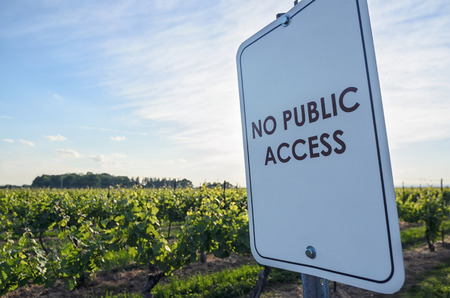 No Public Access sign at the winery