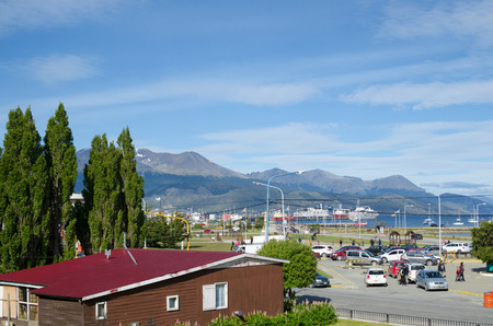 USHUAIA, ARGENTINA, 05 DECEMBER 2016: view to the town, mountains and port Editorial