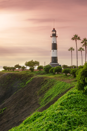 LIMA, PERU, 23 FEBRUARY 2017: View to lighthouse and city park at Malicon
