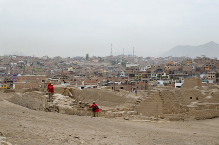 PACACHAMAC, LIMA, PERU, FEBRUARY 17, 2017: archeologists at the Inca ruins
