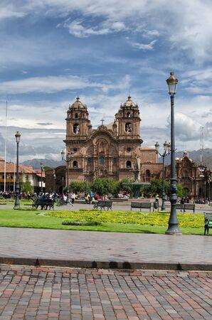 CUZCO, PERU, 08 FEBRUARY 2017: view to Plaza de Armaz during the daytime Editorial