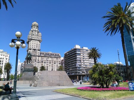 MONTEVIDEO, URUGUAY, 13 DECEMBER 2016: view to city center and Palacio Salvo