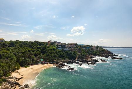 Aerial view to Manzanillo beach in Puerto Escondido