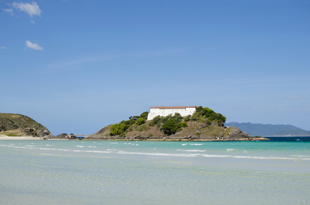 View to Fortress of San Mateus in Cabo Frio over the beach Editorial