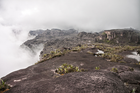 View to the summit of Roraima mountain with clouds raising on the sides Stock Photo