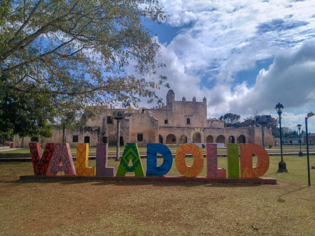 Convent of San Bernardino de Siena and Valladolid sign made of big colorful letters in front