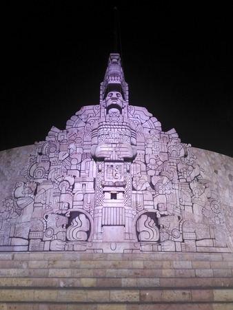 MERIDA, MEXICO, 30 DECEMBER 2018: Monument to the Fatherland in Merida at night