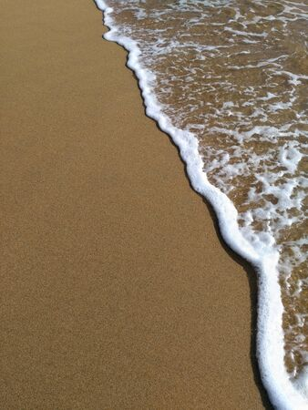 Wave of transparent water and white foam covers brown sand of the beach. Closeup of Eath surface by the coast. Vacational natural background of forever summer time Zdjęcie Seryjne