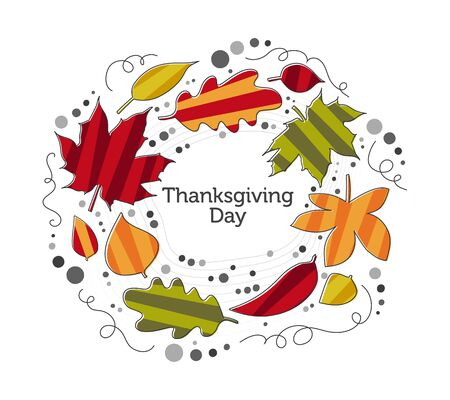 day: Colorful Ornate Wreath of Tree Leaves for Thanksgiving Day