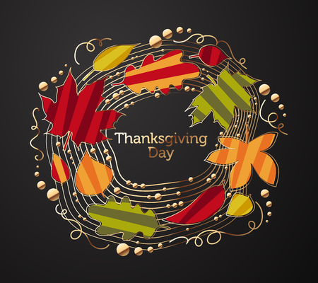 day: Ornate Wreath of Tree Leaves for Thanksgiving Day
