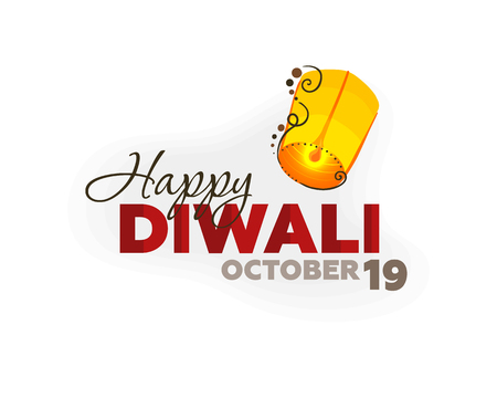 tradition: Lantern Sky design for Diwali celebration for banner, poster and greeting cards, with typography, Happy Diwali, October 19 Illustration