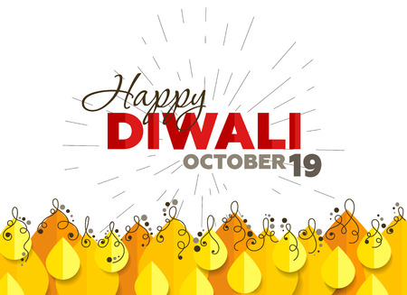 tradition: Candle Flames design for Diwali celebration which can be use for banner, poster and greeting cards, with typography, Happy Diwali October 19