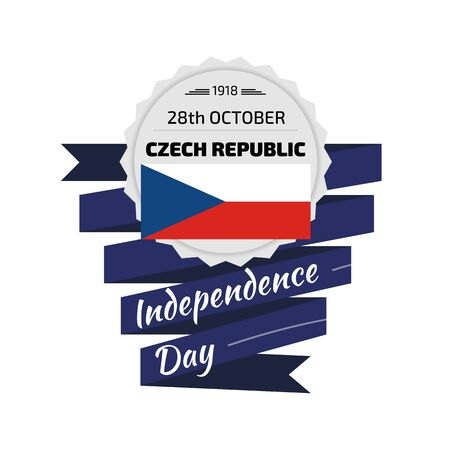 day: Silver ribbon and banner with text, 28th October, Czech Republic, Independence Day, with Flag Illustration