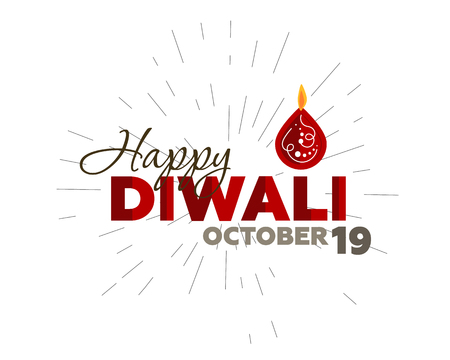 tradition: Candle stick design for Diwali celebration for banner, poster and greeting cards, with typography, Happy Diwali, October 19