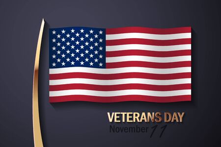 day: American Flag and Golden Decorative Elements With text, Veterans Day