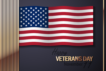 day: American Flag and Golden Decorative Elements, with text Veterans Day