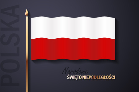 Illustration of Independence Day of Poland with the text in Polish and golden elements