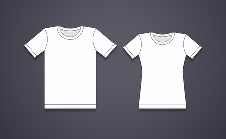 blank white t shirt template male and female royalty free cliparts